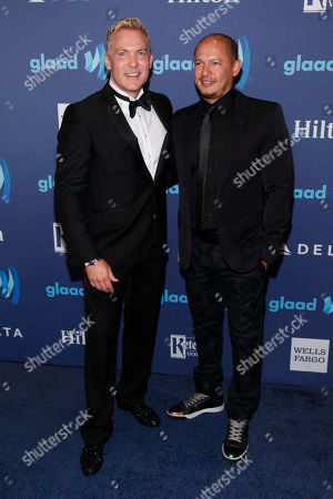 Sam Champion, left, and Rubem Robierb, right, attend the 26th Annual GLAAD Media Awards at the Waldorf Astoria, in New York
