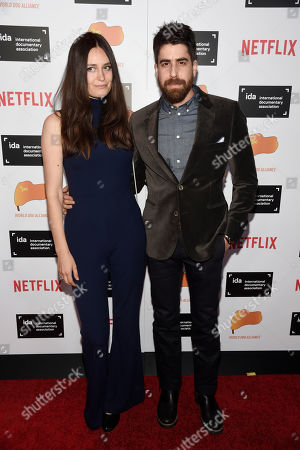 Actor Adam Goldberg and his wife Roxanne Daner pose together at the 2015 IDA Documentary Awards at Paramount Studios, in Los Angeles