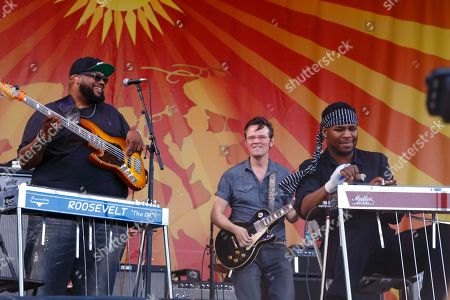 Chris Chew, Luther Dickinson, Robert Randolph, (left to right) and The Word performs at the New Orleans Jazz & Heritage Festival, in New Orleans, Louisiana