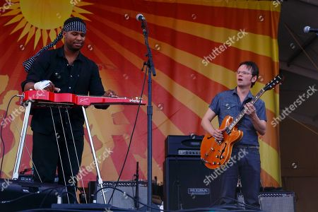 Robert Randolph (left), Luther Dickinson and The Word performs at the New Orleans Jazz & Heritage Festival, in New Orleans, Louisiana