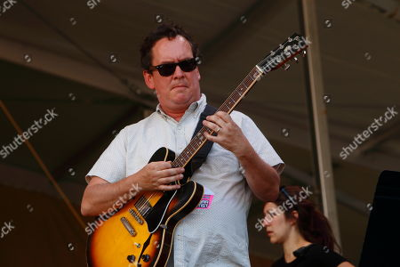 Jeff Raines and Galactic perform at the New Orleans Jazz & Heritage Festival, in New Orleans, Louisiana