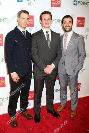"""From left, Murray Bartlett, Jonathan Groff and Frankie J. Alvarez attend the Point Foundation's """"Point Honors 2015 New York Gala"""" at The New York Public Library, in New York"""