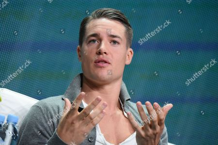 """Alexander Dreymon speaks onstage during the """"The Last Kingdom"""" panel at the BBC America 2015 Summer TCA Tour held at the Beverly Hilton Hotel on in Beverly Hills, Calif"""