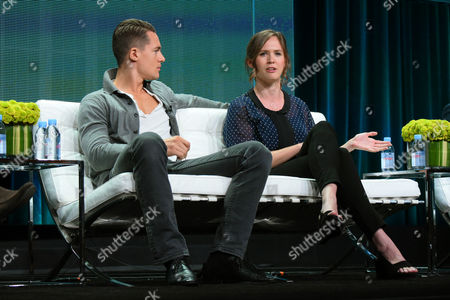 """Actors Alexander Dreymon, left, and Emily Cox participate on the """"The Last Kingdom"""" panel at the BBC America 2015 Summer TCA Tour held at the Beverly Hilton Hotel on in Beverly Hills, Calif"""