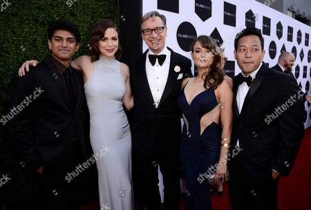 Karan Soni, and from left, Conor Leslie, Paul Feig, Milana Vayntrub, and Eugene Cordero arrive at the TV Land Awards at the Saban Theatre, in Beverly Hills, Calif