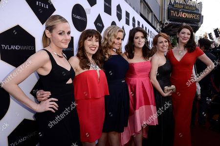 Katie O'Brien, and from left, Katie Thomas, Kate Lambert, Cate Freedman, Caitlin Barlow, and Katy Colloton arrive at the TV Land Awards at the Saban Theatre, in Beverly Hills, Calif
