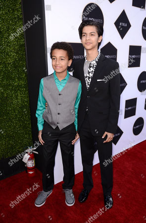 Tyree Brown, left, and Xolo Mariduena arrive at the TV Land Awards at the Saban Theatre, in Beverly Hills, Calif