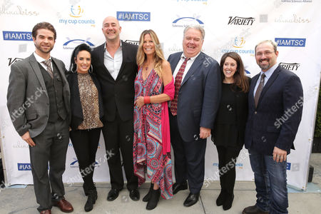 Stock Image of Shane Brady, Kat Perkins, Alex Skuby, Honoree Mo Collins, Jim O'Heir, Wendy Liebman and Chris Hawkey seen at 2016 Comedy for a Cure at The Globe Theatre, in Universal City, CA