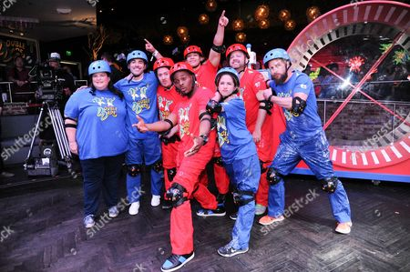 "Derrik Lang, Marc Summers, Emily Bicks, Danny Tamberelli, Kel Mitchell, Josh Server and Lori Beth Denberg attend the ""Double Dare Live Streaming Event"" held at Fluxx, in San Diego"