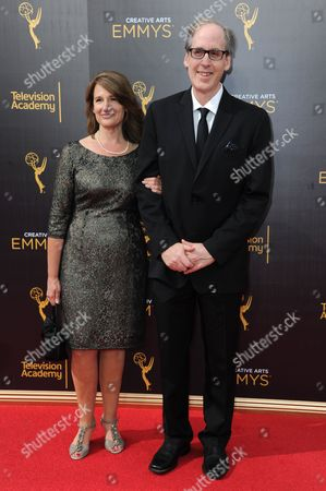 Joan Beal, left, and Jeff Beal arrive at night one of the Creative Arts Emmy Awards at the Microsoft Theater, in Los Angeles