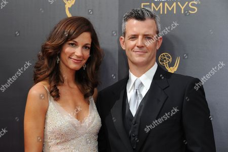 Jama Williamson, left, and Curtis Mark Williams arrive at night one of the Creative Arts Emmy Awards at the Microsoft Theater, in Los Angeles