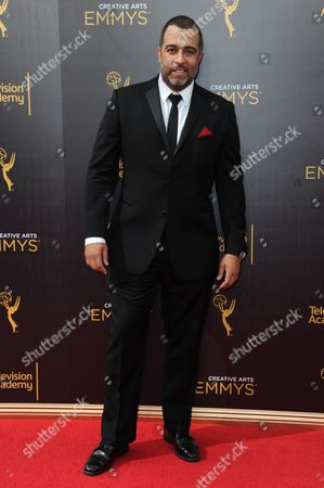 Anthony Mendez arrives at night one of the Creative Arts Emmy Awards at the Microsoft Theater, in Los Angeles