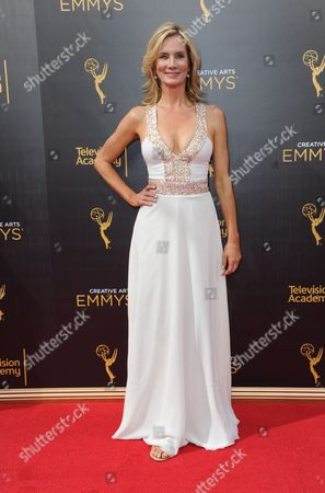 Beth Littleford arrives at night one of the Creative Arts Emmy Awards at the Microsoft Theater, in Los Angeles