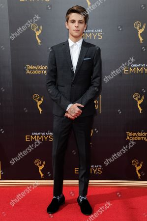Corey Fogelmanis arrives at night one of the Creative Arts Emmy Awards at the Microsoft Theater, in Los Angeles