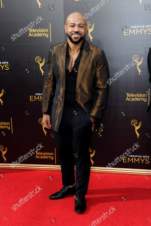 Stock Image of Jim Beanz arrives at night one of the Creative Arts Emmy Awards at the Microsoft Theater, in Los Angeles