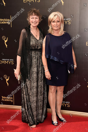 Stock Picture of Stephanie Gorin, left, and Jackie Lind arrives at night one of the Creative Arts Emmy Awards at the Microsoft Theater, in Los Angeles