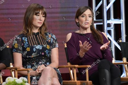 """Stock Image of Isidora Goreshter, left, and executive producer Nancy M. Pimental participate in """"Love & Marriage on TV"""" panel during the Showtime Critics Association summer press tour, in Beverly Hills, Calif"""