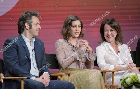 """Michael Sheen, from left, Lizzy Caplan and Michelle Ashford participate in """"Love & Marriage on TV"""" panel during the Showtime Critics Association summer press tour, in Beverly Hills, Calif"""