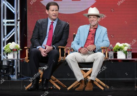 """Producers Mark Halperin, left, and Mark McKinnon participate in """"The Circus of Politics"""" panel during the Showtime Critics Association summer press tour, in Beverly Hills, Calif"""