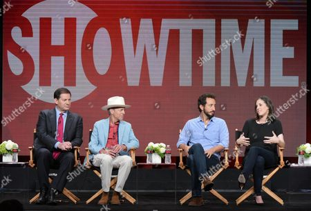 """Producers Mark Halperin, from left, Mark McKinnon and directors Josh Kriegman and Elyse Steinberg participate in """"The Circus of Politics"""" panel during the Showtime Critics Association summer press tour, in Beverly Hills, Calif"""