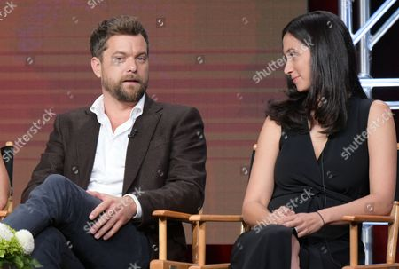 """Joshua Jackson, left, and executive producer Sarah Treem participate in """"Love & Marriage on TV"""" panel during the Showtime Critics Association summer press tour, in Beverly Hills, Calif"""