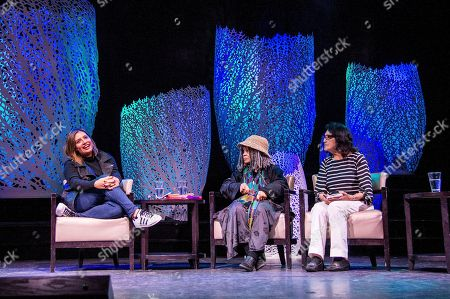 Cristela Alonzo, from left, Sonia Sanchez, and Dolores Huerta speak on board the Norwegian Escape during day 1 of the Summit at Sea cruise on in Miami