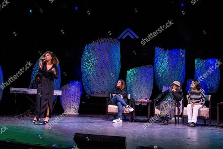 Eryn Allen Kane, from left, Cristela Alonzo, Sonia Sanchez, and Dolores Huerta speak on board the Norwegian Escape during day 1 of the Summit at Sea cruise on in Miami