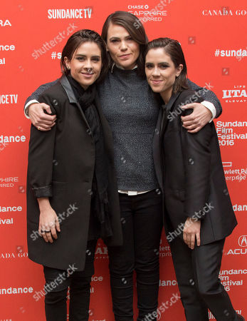 "Tegan Rain Quin, Sara Keirsten Quin From left, musician Tegan Quin of Tegan and Sara, director/writer/actress Clea DuVall, and musician Sara Quin of Tegan and Sara pose at the premiere of ""The Intervention"" during the 2016 Sundance Film Festival, in Park City, Utah"