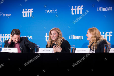 """From left, director Gerard Barrett, Chloe Grace Moretz and Susannah Cahalan attend the press conference for """"Brain on Fire"""" on day 9 of the Toronto International Film Festival at the TIFF Bell Lightbox, in Toronto"""