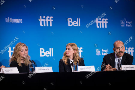 """From left, Chloe Grace Moretz, Susannah Cahalan and Dr. Souhel Najjar attend the press conference for """"Brain on Fire"""" on day 9 of the Toronto International Film Festival at the TIFF Bell Lightbox, in Toronto"""
