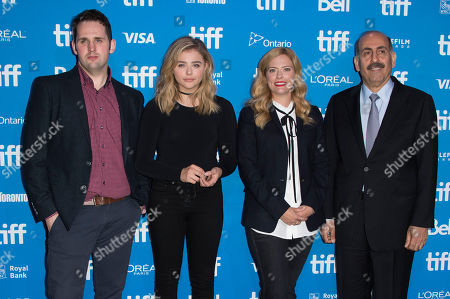 """From left, director Gerard Barrett, Chloe Grace Moretz, Susannah Cahalan and Dr. Souhel Najjar attend the press conference for """"Brain on Fire"""" on day 9 of the Toronto International Film Festival at the TIFF Bell Lightbox, in Toronto"""
