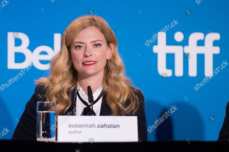 """Susannah Cahalan speaks during the press conference for """"Brain on Fire"""" on day 9 of the Toronto International Film Festival at the TIFF Bell Lightbox, in Toronto"""