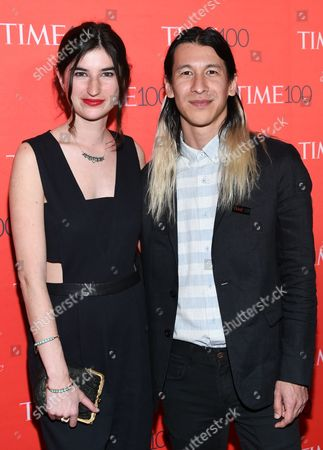 Perry Chen, right, and Marina Katz attend the TIME 100 Gala, celebrating the 100 most influential people in the world, at Frederick P. Rose Hall, Jazz at Lincoln Center, in New York