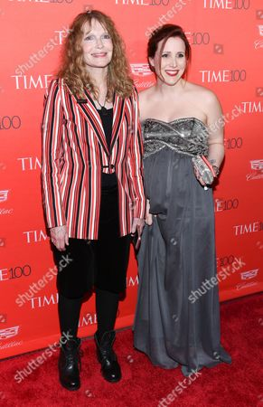 Stock Image of Actress Mia Farrow and daughter Dylan Farrow attend the TIME 100 Gala, celebrating the 100 most influential people in the world, at Frederick P. Rose Hall, Jazz at Lincoln Center, in New York