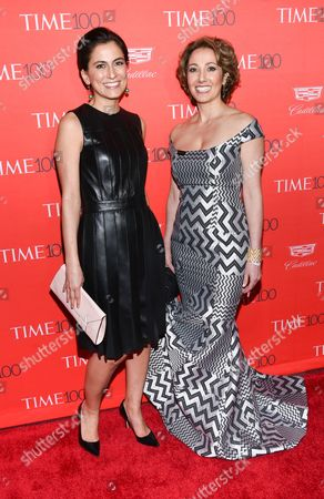 Stock Picture of Tali Farhadian Weinstein, left, and Pardis Sabeti attend the TIME 100 Gala, celebrating the 100 most influential people in the world, at Frederick P. Rose Hall, Jazz at Lincoln Center, in New York