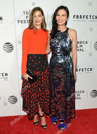 "Producer Sylvana Ward Durrett, left, and Wendi Deng Murdoch attend the Tribeca Film Festival opening night world premiere of ""The First Monday in May"" at John Zuccotti Theater at BMCC Tribeca Performing Arts Center, in New York"