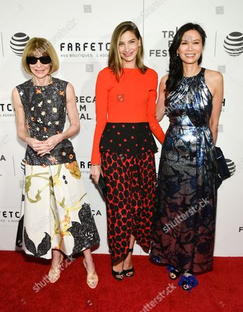 "Editor-in-chief of American Vogue Anna Wintour, left, producer Sylvana Ward Durrett and Wendi Deng Murdoch attend the Tribeca Film Festival opening night world premiere of ""The First Monday in May"" at John Zuccotti Theater at BMCC Tribeca Performing Arts Center, in New York"
