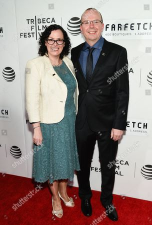 """Founder and CEO of the Internet Movie Database Col Needham and wife Karen Needham attend the Tribeca Film Festival opening night world premiere of """"The First Monday in May"""" at John Zuccotti Theater at BMCC Tribeca Performing Arts Center, in New York"""