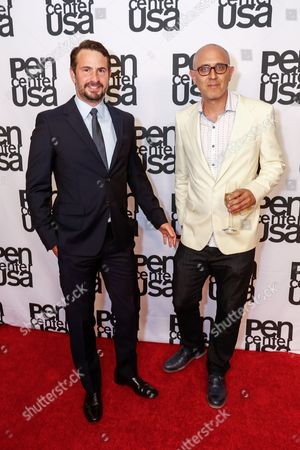 Mark Boal, left, and Joshua Wolf Shenk arrive at the 26th Annual Literary Awards Festival on Wed, in Beverly Hills, Calif