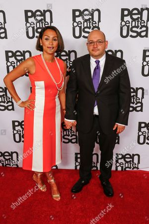 Jason Rezaian, right, and wife Yeganeh Salehi arrive at the 26th Annual Literary Awards Festival on Wed, in Beverly Hills, Calif