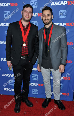 Stock Picture of Alex Schwartz, left, and Joe Khajadourian of The Futuristics arrive at the 31st Annual ASCAP Pop Music Awards at the Loews Hollywood Hotel, in Los Angeles