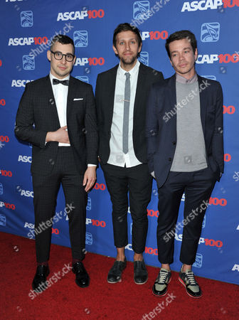 From left, Jack Antonoff, Andrew Dost, and Nate Ruess of the musical group Fun arrive at the 31st Annual ASCAP Pop Music Awards at the Loews Hollywood Hotel, in Los Angeles