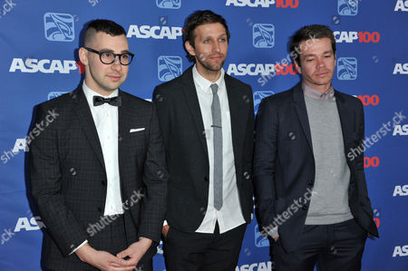 From left, Jack Antonoff, Andrew Dost and Nate Ruess of the musical group Fun arrive at the 31st Annual ASCAP Pop Music Awards at the Loews Hollywood Hotel, in Los Angeles