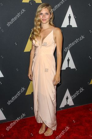 """Emily Kassie, winner of the Silver medal in the Documentary category for """"I Married My Family's Killer"""" attends the 42nd Student Academy Awards Ceremony at the Samuel Goldwyn Theater on in Los Angeles"""