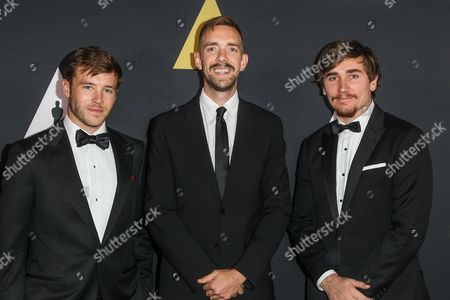 """Narrative category finalists, from left, Bennett Lasseter, winner of the Bronze medal for """"Stealth, Henry Hughes, winner of the Golf medal for """"Day One"""", and Jeremy Cloe winner of the Silver medal for """"This Way Up"""" attend the 42nd Student Academy Awards Ceremony at the Samuel Goldwyn Theater on in Los Angeles"""