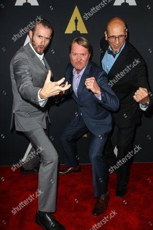 From left, Chris Williams, Don Hall, and Roy Conli attend the 42nd Student Academy Awards Ceremony at the Samuel Goldwyn Theater on in Los Angeles