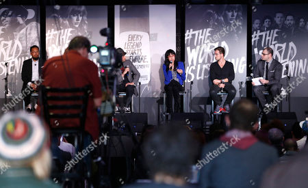 Singer/songwriter and producer Om'Mas Keith, Tionne 'T-Boz' Watkins of TLC, owner of The Roxy Theatre Nic Adler, VP of digital marketing for Roc Nation Dorothy Hui, founder of SoundCloud Alexander Ljung and editorial director of Billboard and moderator Bill Werde attend the 4th Annual Social Media Rock Stars Summit, on Friday, February, 8, 2013 in Los Angeles