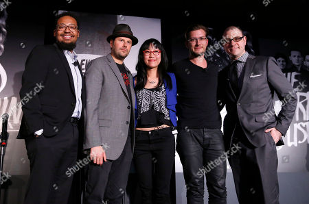Singer/songwriter and producer Om'Mas Keith, owner of The Roxy Theatre Nic Adler, VP of Digital Marketing for Roc Nation Dorothy Hui, founder of SoundCloud Alexander Ljung and Editorial Director of Billboard and moderator Bill Werde attend the 4th Annual Social Media Rock Stars Summit, on Friday, February, 8, 2013 in Los Angeles