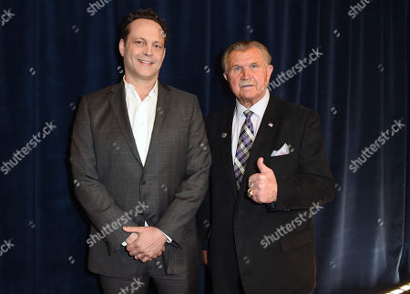 Vince Vaughn, left, and former NFL player and coach Mike Ditka pose backstage at the 5th annual NFL Honors at the Bill Graham Civic Auditorium, in San Francisco