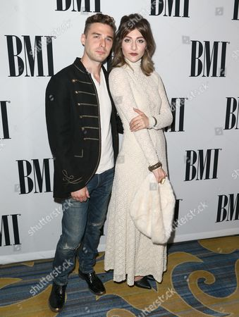 Nick Noonan, left, and Amy Heidemann of Karmin arrive at the 64th annual BMI Pop Awards at the Beverly Wilshire Hotel, in Beverly Hills, Calif